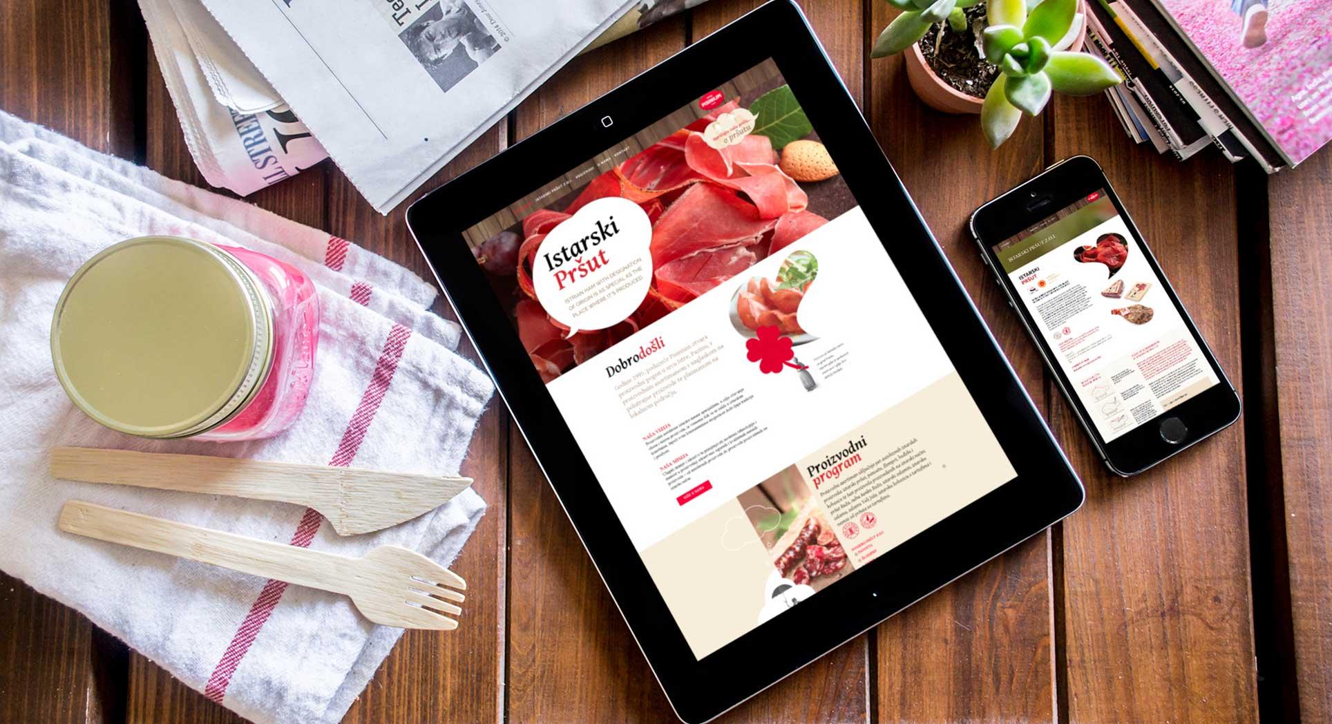 Dizajn internet stranice istarskih suhomesnatih proizvoda Pisinium